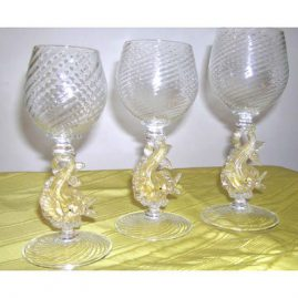 Venetian goblets, can be sold in pairs or in sets, two different sizes, Sold