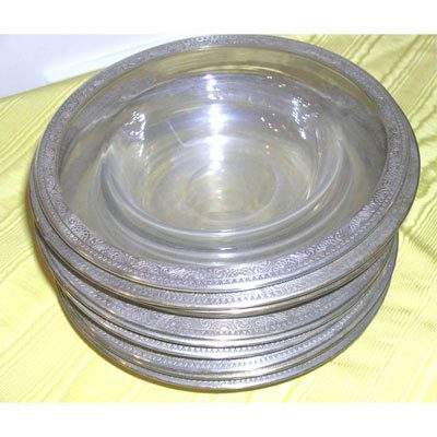 Sterling silver rim wide rim soups, 9 inches, $895.00 for set