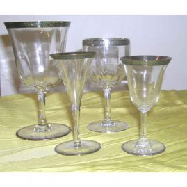 Sterling rim stemware, 10 wine or waters,, 7 wines, on left 8 cordials, other cordials, Sold