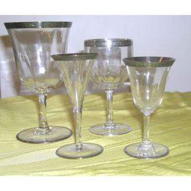 Sterling silver rimmed stemware