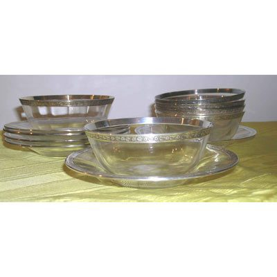 6 sterling rim finger bowls and underplates