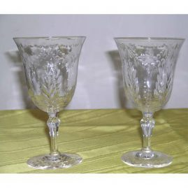 8 crystal Stuart wheel cut wines or waters, 6 inches tall, $795.00