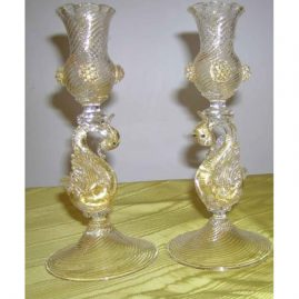 Pair of Venetian candlesticks with figural swans, 8 1/2 inches tall, Sold
