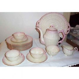 Black Mark Belleek tea set, 6 cups and saucers, 8 desserts, teapot, sugar, creamer and serving plate, 1927-41 SOLD