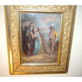 "Painting on board of of Miranda, Ferdinand and Prospero from Shakespeare's The Tempest  1866, signed by artist, framed  10"" by 12"" unframed -5 1/2"" by 7 1/2"", price on request"