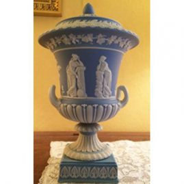 Other side of light blue Wedgwood urn that is before 1890s, Height-13 inches, width-8 inches, Sold.