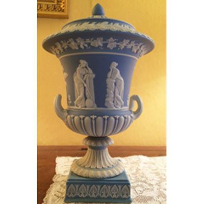 Other side of light blue Wedgwood urn that is before 1890s