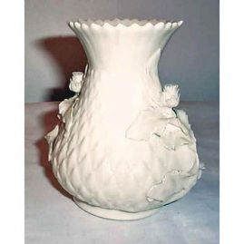 Belleek Black Mark vase with raised flowers, ca-1927-41
