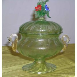 Venetian glass covered bowl with raised flowers and swans, 7 inches- $495.00