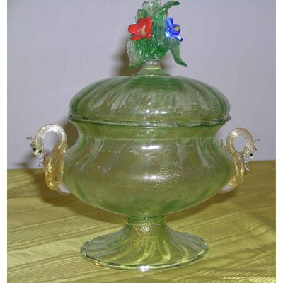 Venetian glass covered bowl with raised flowers and swans