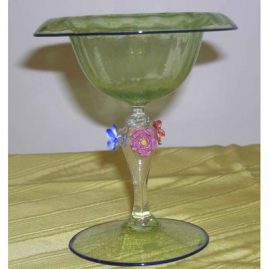 Venetian compote with raised flowers, 6 inches tall, $295.00