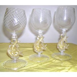 Venetian goblets with dolphin stems, 8 oversized waters-Sold, 5 red wines and 8 white wines. Sold