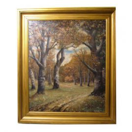 J.J. Walsh oil on canvas laid down on board of fall landscape scene artist signed