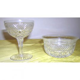 From a set of Web Crystal, 12 hollow stem champagnes-Sold and 11 finger bowls, Sold