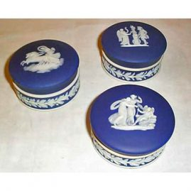 3 Wedgwood dark blue boxes, 3 inches, box in right back available, others sold, $275.00 each