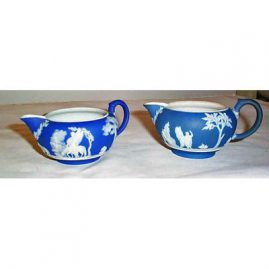 Wedgwood dark blue creamers, before 1890