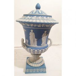 Large light blue Wedgwood urn, circa before 1890s, Height-13 inches, width-8 inches. Sold.