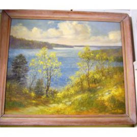 Oil on canvas of seacoast signed Wendell Rogers
