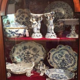 Display of rare Meissen blue onion china with serving pieces, figural salts, reticulated bowls and fabulous trays. Please look at the gallery to see the items in detail.