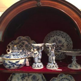 Meissen blue onion dinnerware display with figural salts, serving pieces, reticulated bowls and rare trays. Please look at the gallery to see the items in detail.