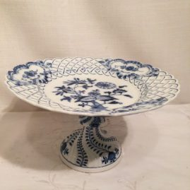 Meissen blue onion compote. Circa-before 1890s, height-5 1/4 inches, diameter-9 3/8 inches. Price on Request.