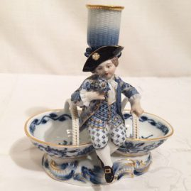 Rare Meissen double salt with candlestick and figure of a boy.  Circa-1880s. Height-6 inches, width--6 inches. Sold.