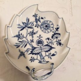 Meissen blue onion leaf shaped dish. Circa-1890s-1920. 8 6/8 inches long by 7 1/4 inches deep. Price on Request.