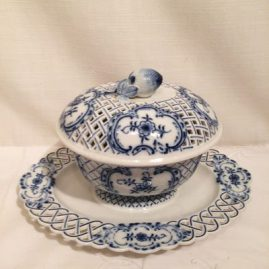 Rare Meissen blue and white gravy with reticulated top and bottom and with fruit on top. Length-12 inches, depth-8 6/8, height-8 inches, Sold.