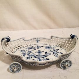 Rare Meissen blue onion reticulated bowl in the shape of a truck with raised forget me nots on outside of bowl. Circa-1890s-1920,  Length-11 inches, depth-5 inches and height-4 3/4 inches. Price on Request.