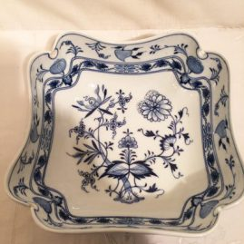 Meissen blue onion four cornered bowl. Circa-1890s-1920. 8 5/8 inches by 8 6/8 inches. Sold.