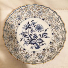 Meissen blue onion reticulated bowl with gold rim. Circa-before 1890s. Diameter 10 3/4 inches. Sold.