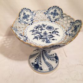 Tall reticulated Meissen blue onion compote with gold rim