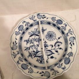 Meissen blue onion divider bowl. It has two compartments. Diameter-11 7/8 inches. Circa-1890s. Sold.