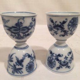 Rare Meissen blue onion double egg cups