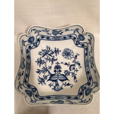 Meissen blue onion four cornered bowl