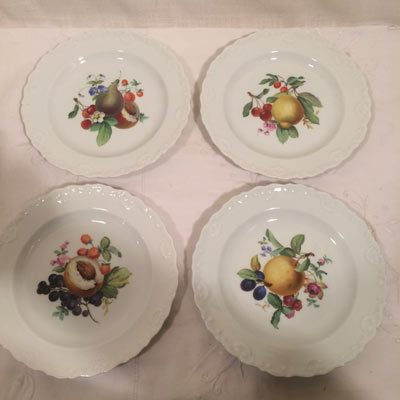 Meissen dessert plates with fruit paintings each plate painted with different fruits and each having raised shell borders. Circa-1870s. & Meissen Blue Onion Dinnerware Page 13 - Elegant Findings Antiques