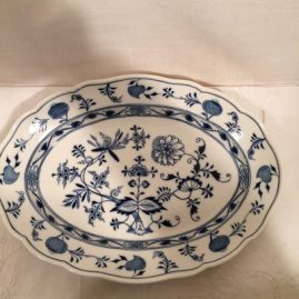 Meissen blue onion platter. Circa-1890s. 13 1/2 inches wide by 9 1/2 inches tall. Price on Request.