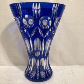 Bohemian Czechoslovakia cut crystal overlay cobalt vase