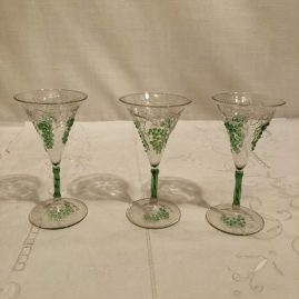 Set of five rare Venetian cordials with raised grape and vine decoration. Height of cordial is 5 1/4 inches tall. Prices on Request.
