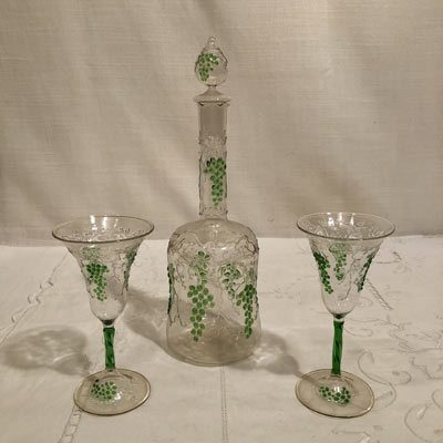 Rare Venetian decanter and cordials with raised grape and vine decoration