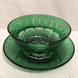 Set of 8 cut crystal overlay emerald bowls and under plates