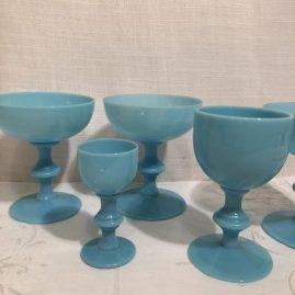 Set of blue French opaline stemware