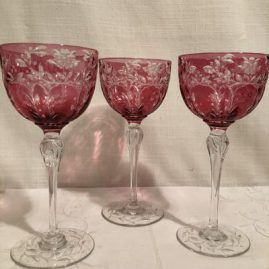 Cranberry wheel cut goblets signed Webb
