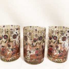 Set of six hand painted tumblers with paintings of men on horse back