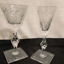 Set of Hawkes crystal stemware with square bases and cut pears and peaches