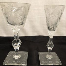 Set of Hawkes crystal stemware with square bases