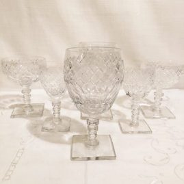 Set of Hawkes cut crystal stemware with square bases