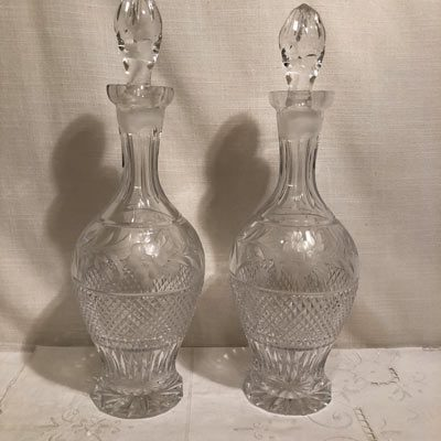 Pair of tall cut and wheel cut crystal tall decanters