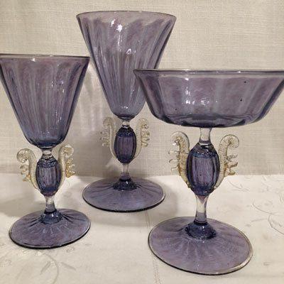Purple Venetian stemware