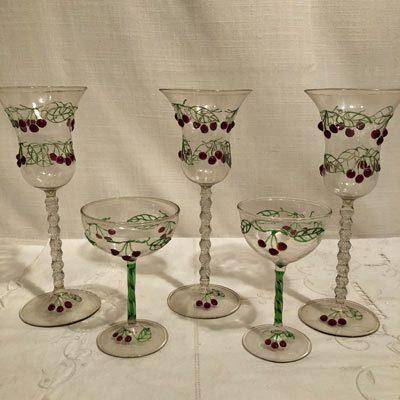 Rare set of antique Venetian stemware with raised cherries